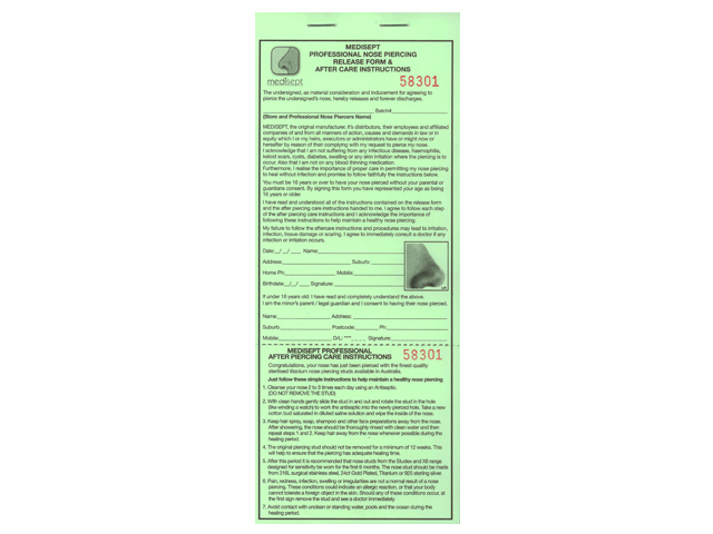 Nose Piercing Release Forms Roylind Pty Ltd